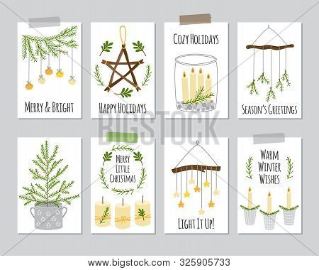 Cute Scandinavian Set Of Vintage Christmas And New Year Cards With Decorative Elements As Wooden Sta