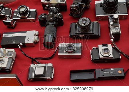 Athens, Greece - April 1, 2018: Vintage Photo And Video Cameras For Sale At Street Market. Antique P