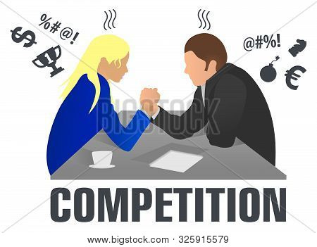 Business People And Professional Parity. Arm Wrestling Between Businessman And Businesswoman At Work