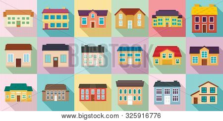 Cottage Icons Set. Flat Set Of Cottage Vector Icons For Web Design