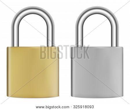 Lock Isolated. Realistic Silver Metal Padlock. Golden Steel Hook Secure Mechanism In Positionlock. V