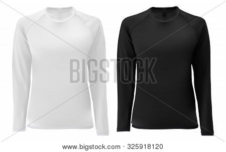 T Shirt Template. Long Sleeve Black, White Design For Male And Female. Front View. Isolated Clothing
