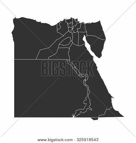 Egypt Map With Boundaries Vector Illustration. Arab Country.