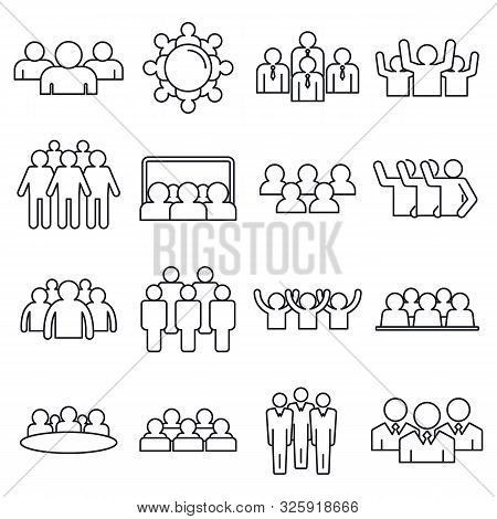 Audience Customer Icons Set. Outline Set Of Audience Customer Vector Icons For Web Design Isolated O
