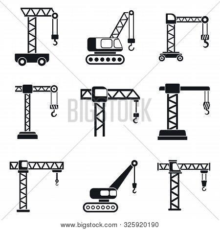 Crane Construction Icons Set. Simple Set Of Crane Construction Vector Icons For Web Design On White