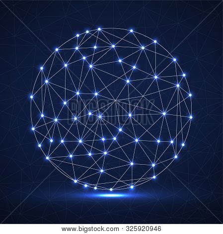 Abstract Futuristic Globe Sphere, Network Connections With Glowing Dots And Lines. Vector