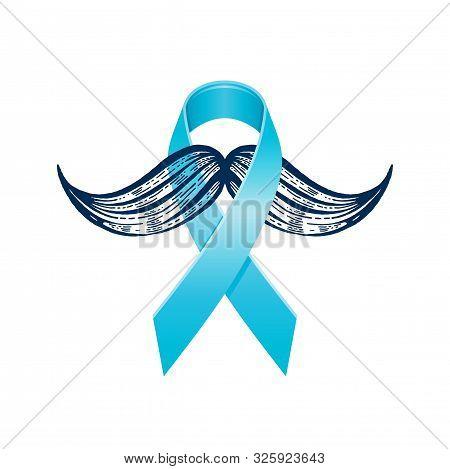 Prostate Cancer Awareness Ribbon With Moustaches. Men Health Symbol. Men Cancer Prevention In Novemb