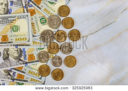 Us Dollar Coin Money And American Dollar Banknotes Bills Cash, Currency Exchange