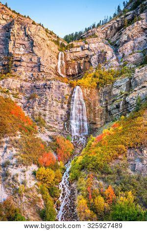 Bridal Veil Falls, Provo, Utah during autumn season.
