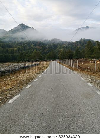 Road In The Mountains - Clouds Over Mountains - Cozia Mountains, Carphatians, Romania