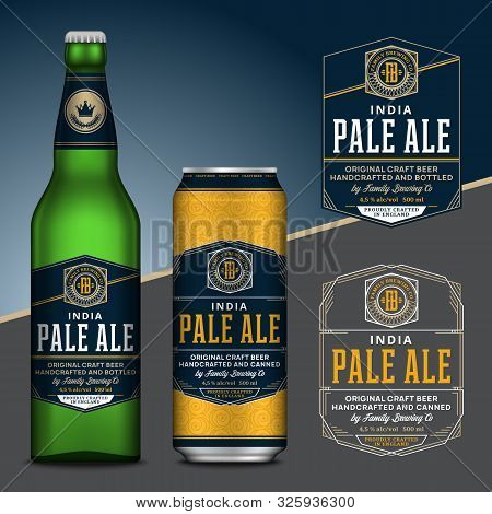 Vector Beer Labels. Aluminum Can And Glass Bottle Mockups