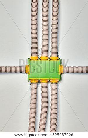 Electrical Nonmetallic Tubing Or Flexible Conduit And Rectangular Plastic Junction Box. Distribution