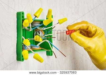 Electric wire connecter for fasten low-voltage electrical conductors. Connector splice wires together with a wire nut. Connecting end caps on electrical wire in electric junction box. poster