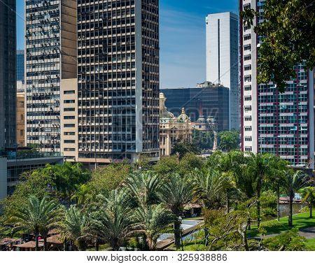 Rio De Janeiro, Rj , Brazil - September 12, 2019:  View Of Municipal Theatre And Largo Da Carioca Fr