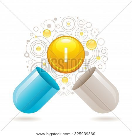 Mineral Vitamin Iodine Supplement For Health. Capsule With I Element Icon, Healthy Diet Symbol. 3d C