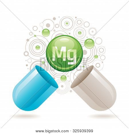 Mineral Vitamin Magnesium Supplement For Health. Capsule With Mg Element Icon, Healthy Diet Symbol.