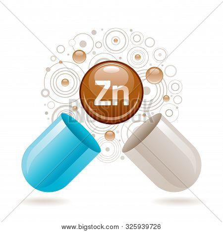 Mineral Vitamin Zinc Supplement For Health. Capsule With Zn Element Icon, Healthy Diet Symbol. 3d Co