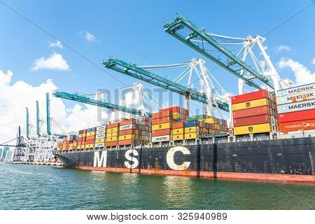 Miami, Usa - September 11, 2019: The Port Of Miami Is The Major Port In Usa