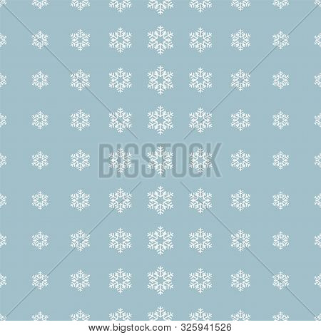 Christmas Snowflake Pattern In Halftone Style. White Snowflakes On Blue Background. Vector Illustrat