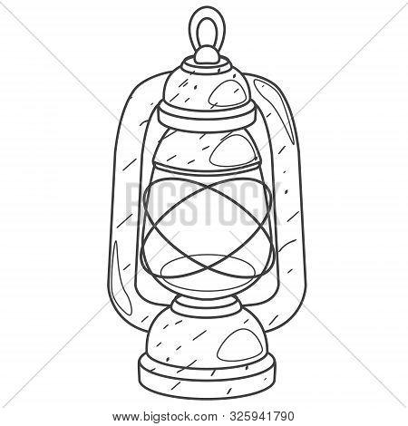 Kerosene Lamp. Vector Outline Drawing On White Background.
