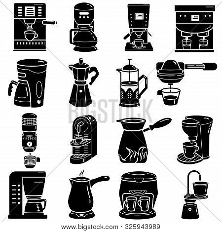 Coffee Maker Icons Set. Simple Set Of Coffee Maker Vector Icons For Web Design On White Background