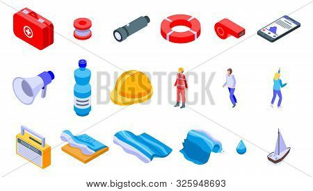 Tsunami Icons Set. Isometric Set Of Tsunami Vector Icons For Web Design Isolated On White Background