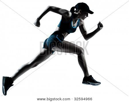 one caucasian woman runner jogger running in silhouette studio isolated on white background