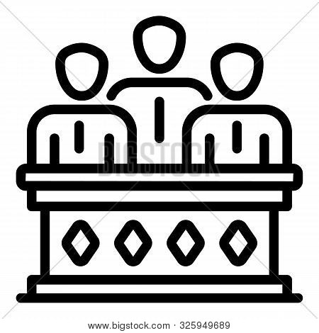 Judiciary Icon. Outline Judiciary Vector Icon For Web Design Isolated On White Background