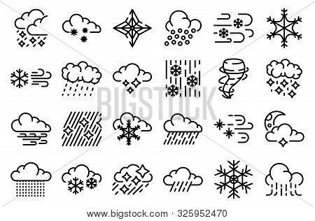 Blizzard Icons Set. Outline Set Of Blizzard Vector Icons For Web Design Isolated On White Background