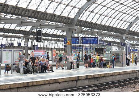 Berlin Germany - June 11, 2019: Unidentified People Wait For Train At Spandau Train Station Berlin G
