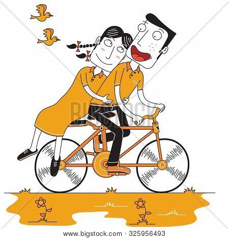 Illustration Of Happy Couple Enjoy Cycling With Two Birds