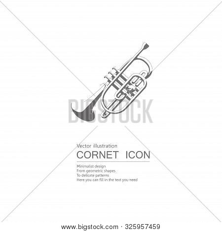 Vector Drawn Cornet. Isolated On White Background.