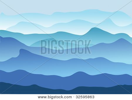 Blue Mountains In A Fog