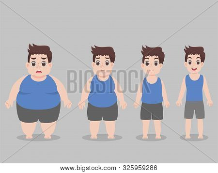 Set Of Cute Character Big Fat Man For Lose Weight, Diet Unhealthy Cartoon, Lifestyle Healthcare Conc