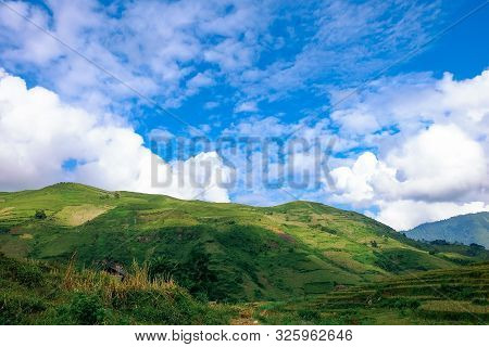 The Beautiful Landscape Of Y Ty With Mountains, Clouds, Blue Sky, And Rice Fields, The Most Popular