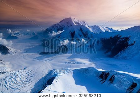 Areal View Of Mount Mckinley Glaciers, Alaska, Usa