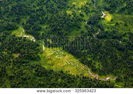 Green Heart Of Alaska - A River Winding Through The Green Dwarf Forest In Summer