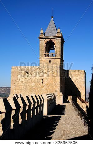 Antequera, Spain - November 11, 2009 - View Along The Castle Battlements Towards The Keep Tower, Ant