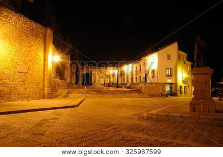 Plaza De Santa Maria At Night With The Giants Arch (arco De Los Gigantes) To The Rear, Antequera, Ma
