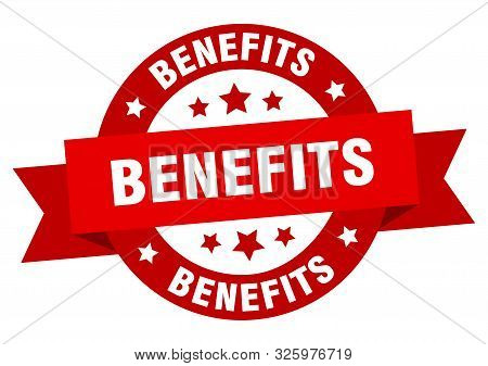 Benefits Ribbon. Benefits Round Red Sign. Benefits