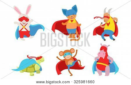 Funny Animals Dressed As Superheroes. Vector Illustration.