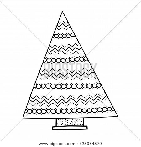 Christmas Tree. Black And White Illustration For Coloring Book And Page.