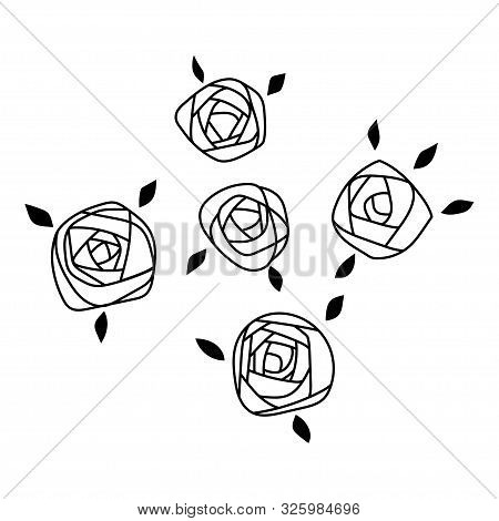 Roses With Leaves, Flowers. Decorative Items For Greeting Cards, Scrapbooking, Wedding. Illustration