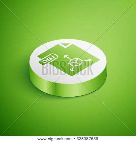 Isometric Obj File Document. Download Obj Button Icon Isolated On Green Background. Obj File Symbol.