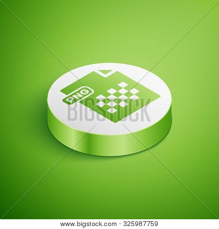 Isometric Png File Document. Download Png Button Icon Isolated On Green Background. Png File Symbol.