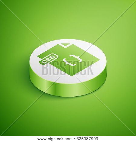 Isometric Css File Document. Download Css Button Icon Isolated On Green Background. Css File Symbol.