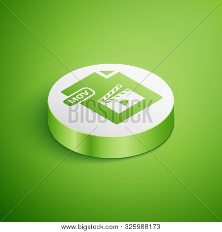 Isometric Mov File Document. Download Mov Button Icon Isolated On Green Background. Mov File Symbol.