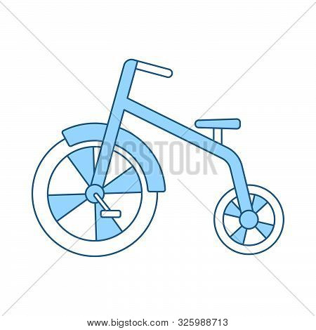 Baby Trike Icon. Thin Line With Blue Fill Design. Vector Illustration.