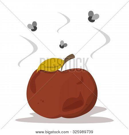 Bad Rotten Apple. Red Fruit Vector Isolated. Organic Rotten