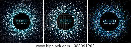 New Year 2020 Night Background Party Set. Greeting Cards. Blue Glitter Paper Confetti. Glistening Fe